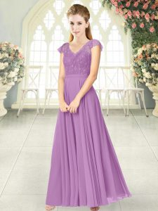 Custom Design Ankle Length Lilac Evening Gowns V-neck Cap Sleeves Zipper