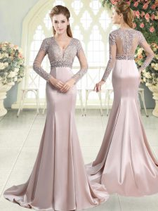 Enchanting Pink V-neck Zipper Beading and Lace Evening Gowns Sweep Train Long Sleeves