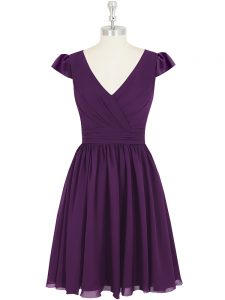 V-neck Cap Sleeves Zipper Prom Evening Gown Purple Chiffon