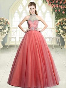 Extravagant Watermelon Red Tulle Zipper Halter Top Sleeveless Floor Length Prom Dresses Beading