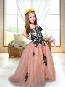 Peach Tulle Lace Up Spaghetti Straps Sleeveless Little Girls Pageant Gowns Brush Train Appliques