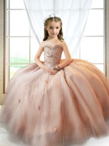Pink Little Girls Pageant Dress Wedding Party with Beading and Appliques Sweetheart Sleeveless Lace Up