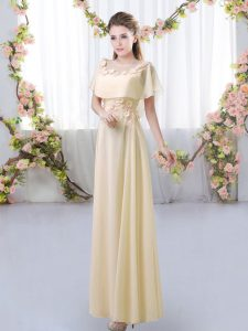 Light Yellow Short Sleeves Chiffon Zipper Bridesmaid Gown for Prom and Party and Wedding Party
