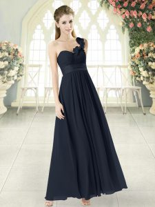 Sophisticated Hand Made Flower Womens Evening Dresses Black Zipper Sleeveless Ankle Length