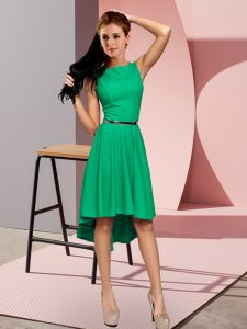 Modest Green Prom Dresses Prom and Party and Military Ball with Belt Scoop Sleeveless Zipper