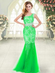 Comfortable One Shoulder Sleeveless Tulle Evening Dress Beading and Lace Zipper
