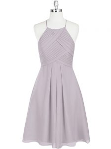 Grey Sleeveless Chiffon Zipper for Prom and Party