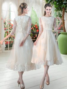 Edgy Champagne Tulle Lace Up Homecoming Dress 3 4 Length Sleeve Tea Length Lace
