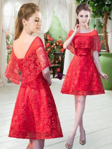 Romantic Short Sleeves Lace Mini Length Lace Up Prom Evening Gown in Red with Beading