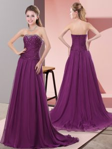 Purple Sleeveless Beading and Lace Zipper Evening Dress