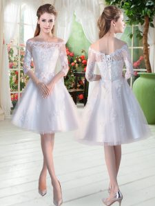 A-line Dress for Prom White Off The Shoulder Tulle Half Sleeves Knee Length Lace Up