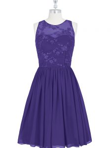 Edgy Purple Scoop Zipper Lace Dress for Prom Sleeveless