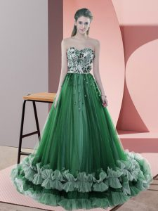 On Sale Green Lace Up Prom Gown Beading and Appliques Sleeveless Sweep Train