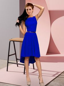 Blue Scoop Neckline Belt Prom Party Dress Sleeveless Lace Up
