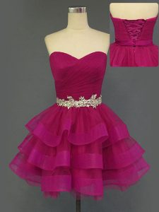 Captivating Fuchsia Sleeveless Tulle Lace Up Prom Gown for Prom and Party