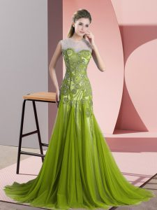 Custom Fit Scoop Sleeveless Sweep Train Backless Prom Dresses Olive Green Tulle