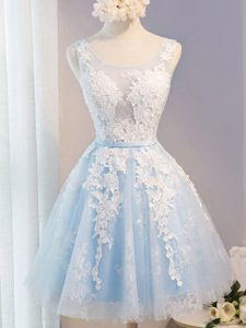 Clearance Knee Length Baby Blue Prom Dress Tulle Sleeveless Appliques and Belt