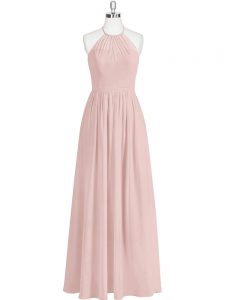Baby Pink Zipper Prom Gown Sequins Sleeveless Floor Length
