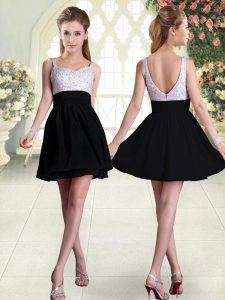 Black Prom and Party with Beading Straps Sleeveless Backless