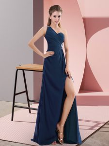 Customized Sleeveless Chiffon Sweep Train Backless Prom Party Dress in Navy Blue with Beading and Ruching
