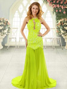 Sleeveless With Train Lace Backless Prom Party Dress with Yellow Green Brush Train