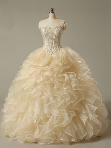 Sumptuous Champagne Ball Gowns Beading and Ruffles Ball Gown Prom Dress Lace Up Organza Sleeveless Floor Length