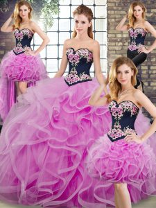 Luxury Lilac Lace Up Sweetheart Sleeveless Quinceanera Gown Sweep Train Embroidery and Ruffles