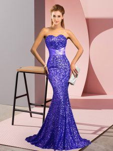 Ideal Lavender Prom Dress Prom and Party and Military Ball with Beading Sweetheart Sleeveless Sweep Train Zipper