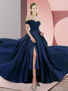 Latest Navy Blue Empire Beading Evening Party Dresses Backless Elastic Woven Satin Sleeveless