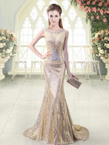 Gold Dress for Prom Prom and Party and Military Ball with Beading Scoop Sleeveless Brush Train Zipper