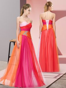 Sophisticated Chiffon Sleeveless Floor Length Prom Gown and Beading