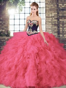 On Sale Hot Pink Tulle Lace Up Sweet 16 Dress Sleeveless Floor Length Beading and Embroidery