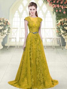 Romantic Sweep Train A-line Homecoming Dress Gold Scoop Tulle Cap Sleeves Zipper