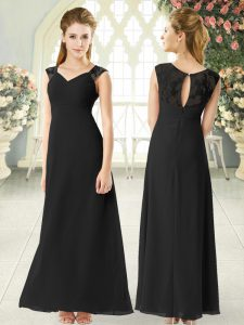 Black Sleeveless Ankle Length Lace Zipper Prom Party Dress
