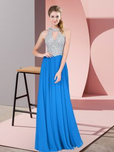 Chiffon High-neck Sleeveless Zipper Beading Prom Gown in Blue
