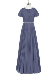 Modern Blue Evening Dress Prom and Party and Military Ball with Beading and Pleated Scoop Short Sleeves Zipper