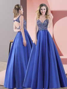 Blue Sleeveless Satin Sweep Train Backless Evening Dress for Prom and Party and Military Ball
