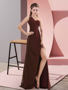 Modest Burgundy Prom Evening Gown Prom and Party and Military Ball with Beading and Ruching One Shoulder Sleeveless Sweep Train Backless