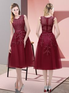 Burgundy Lace Up Prom Gown Beading and Lace and Appliques Sleeveless Tea Length