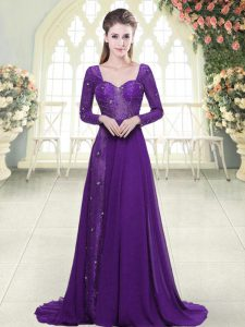 Eggplant Purple Chiffon Backless Sweetheart Long Sleeves Formal Dresses Sweep Train Beading and Lace