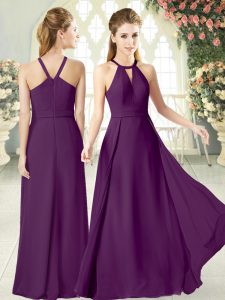 Best Halter Top Sleeveless Prom Party Dress Floor Length Ruching Purple Chiffon