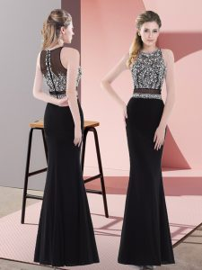 Beading Dress for Prom Black Zipper Sleeveless Floor Length