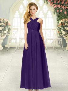High End Purple Sleeveless Chiffon Zipper Prom Dress for Prom and Party