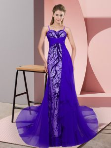 Purple Tulle Zipper Spaghetti Straps Sleeveless Prom Party Dress Sweep Train Beading and Lace