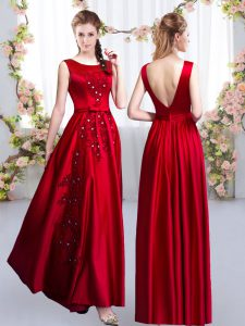 Red Wedding Guest Dresses Prom and Party and Wedding Party with Beading and Appliques Scoop Sleeveless Backless