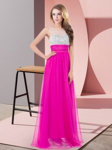 Floor Length Fuchsia Scoop Sleeveless Side Zipper