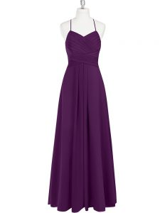 Eggplant Purple Straps Zipper Ruching Prom Gown Sleeveless
