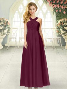 Burgundy Prom and Party with Ruching Straps Sleeveless Zipper