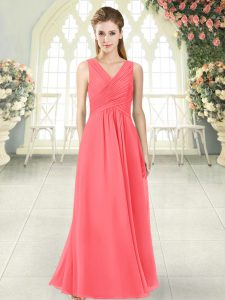 Chic Watermelon Red Zipper V-neck Ruching Prom Gown Chiffon Sleeveless