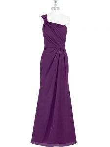 Elegant Eggplant Purple Side Zipper Formal Dresses Ruching Sleeveless Floor Length
